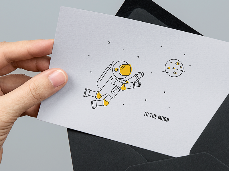 A Thank You Card From Rocket Code Greeting Postcard Astronaut