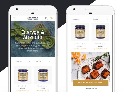 Sun Potion Collection adaptogens shopping commerce ecommerce shopify collection page