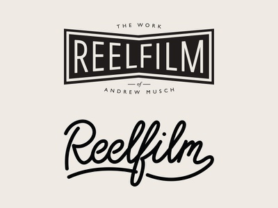 Reelfilm logo logo lettering
