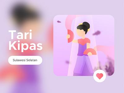 Tari Kipas, Sulawesi Selatan traditional indonesia dance illustration