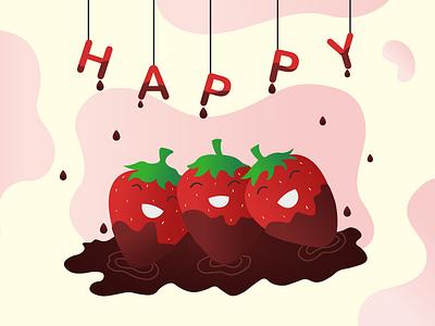 Happy Strawberries icon branding vector illustration flat design