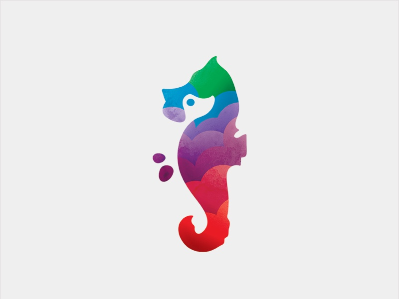 Dog & Seahorse  logo mark animal sea horse logo dog