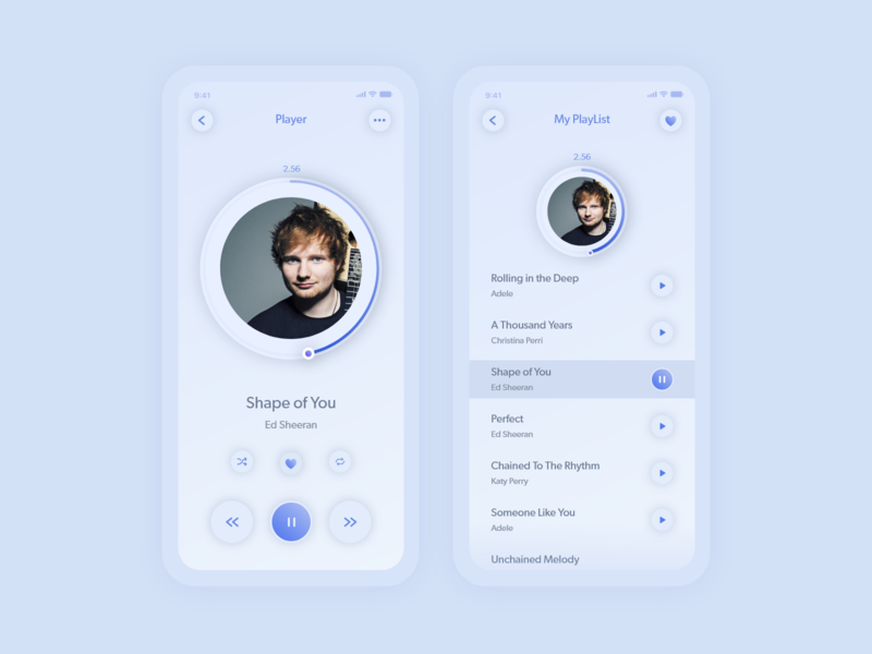 Music Player mobile app in lighter theme soft ui neumorphic design clean ui minimalist neumorphism mobile ui music player music music app