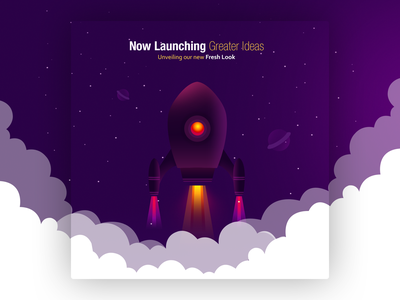 Newly Launching Ideas fresh start space clouds soft design ideas illustration design colors illustration ui design banner mailer launching rocket