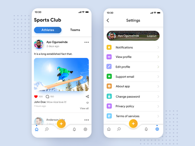 Sports Club App UI post notifications add search home settings page profile tab bar tabs icons color icon illustration branding iphone app ui ux clean design