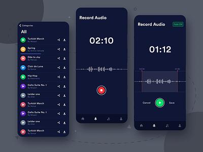 Audio Recording App UI user pause sketch mp3 player download audio recording sounds music mp3 audio recorod homepage branding icon iphone app ux ui clean design