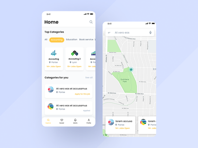 Services App UI designs template search icons tab bar categories maps google map tracking desing color branding icon iphone app ux ui clean design
