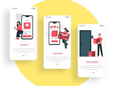 Delivery App vector illustration desing color branding icon web website iphone app ux clean design