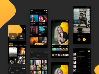 Video Editing App black yellow combination desing branding iphone clean editor editorial video game magi magical magic ux ui uiux app ui app editing video