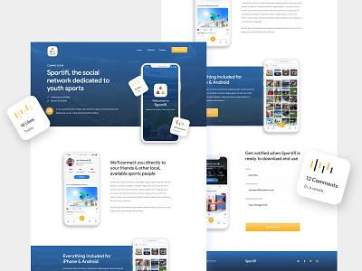 Sportifi illustration desing color icon branding web iphone website app ui ux clean design