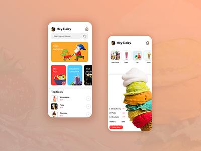 Ice Cream Parlour color icon branding web iphone website app ux ui clean design