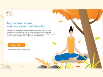 Sign up page for meditation website