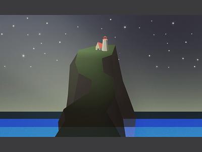 Lighthouse light animation stars island lighthouse after effect animation 2d design 2d motion graphics