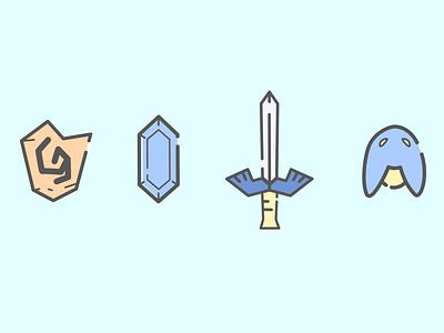 Links tribute tools vector design deku coin sword shield ocarina of time oot zelda illustration 2d link