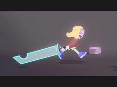 Neon warrior video loop illustration vector running walkcycle sword character after effect art 2d animation motion graphics
