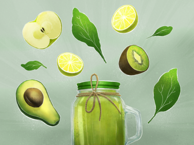 Green fruits for smoothies. illustration