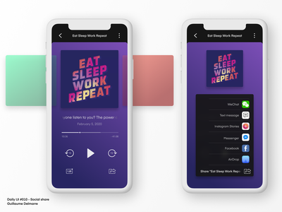 Podcast app - Social share - Daily UI #010 mobile app mobile design vibrant gradient product design list sharing social share figma figma design daily ui dailyui music player podcast