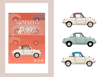 100 years of Mazda - 360 Coupé 1960s japan vector retromobile retro car automotive 100 years 360coupe mazda sketchapp illustration