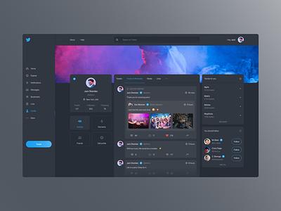 Twitter Redesign - Dark Mode designer flat design photos twitter social network app dark ui dashboard app design interface web design ui design ux design ux ui design