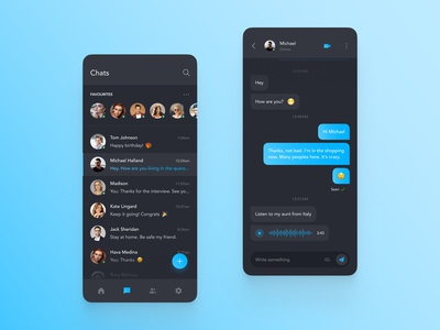 Chat App Mobile - Dark ver. dark mode dark messenger conversation chat mobile design mobile user interface colors designer ios app design app interface web design ui design ux design ux ui design