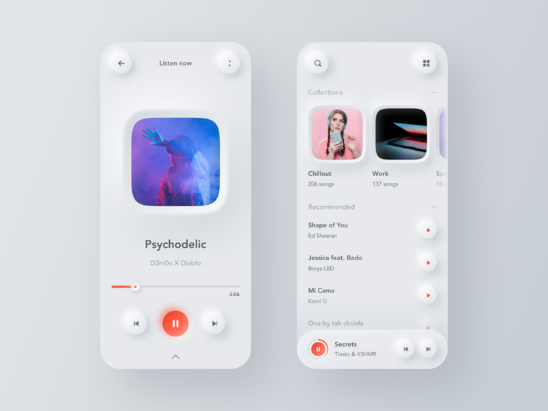 🎶Neumorphic Music Player colors shadow player music gradient digital user interface mobile design mobile neumorphism neumorphic ios app design app interface ux design ux ui design