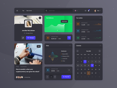 UI Kit - Dark neumorphic ui kit mobile mobile design user interface neumorphism website bitcoin cryptocurrency stats chart dark ui dashboard ios app design app web design ui design ui design