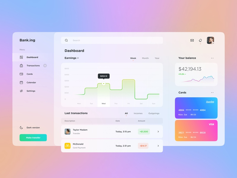 The Banking Application application stats chart banking finance clean mobile design web ux design glassy gradient colors ios app app design interface web design ui design ui design