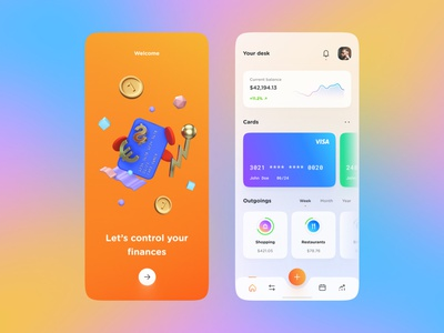 Finance App application clean ux design gradient banking finance chart glassy colors mobile design mobile ios app design app interface web design ui ui design design