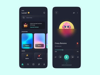 Glassy Music Player user interface colors gradient music app digital dark player music glassmorphism glassy interface web design mobile design mobile app ios app design ui design ui design