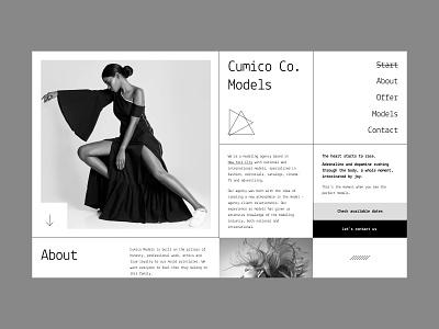 Cumico Models designer clean photos agency user interface ux illustration minimal design website landing page typography web design ui ux design ui design monochrome print brutal models