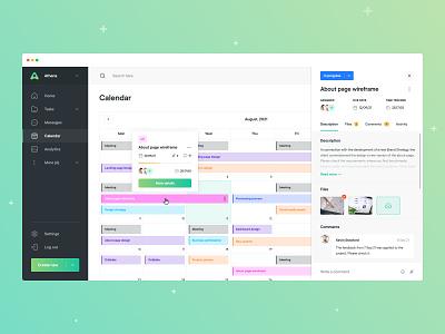 Athena - Calendar minimal gradients colors calendar designer design web design task management task manager task app user experience ux app design app ui design ui application dashboard