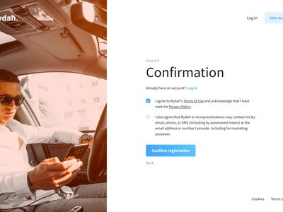 Rydah's app - Sign up process ux ui design app sign up interface web design ux design ui design wip uber rides drivers car