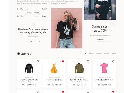Montana - Fashion Store interface shop store design web design ux design ux ui ui design e-commerce clothes fashion
