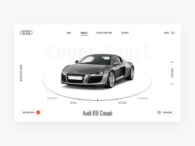 Audi Ultra Sport Series interface figma light sport audi car white minimal uidesign e-commerce clean web design ux design ui design design ux ui