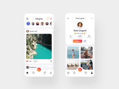 Instagram Redesign Concept - Mobile ver. android ios instagram mobile figma photos app design minimal uidesign flat app interface clean web design ux design ui design ux design ui