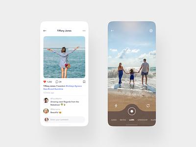 Instagram Redesign Concept - Mobile ver. #2 sea camera web design ux design ux ui design ui photos mobile minimal ios interface flat figma instagram design clean app design app android