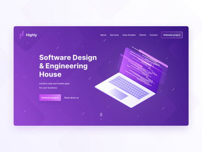 Software House startup software house software gradient landing page agency purple figma uidesign minimal flat interface clean web design ux design ui design ux design ui