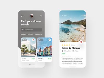 Travel Finding App holidays travel android ios app design figma photos e-commerce app minimal flat interface clean ux design ui design ux design ui mobile design mobile