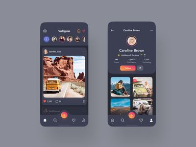 Instagram Redesign Concept - Dark mode dark redesign instagram android ios mobile app design photos figma e-commerce app flat interface clean web design ux design ui design ux design ui
