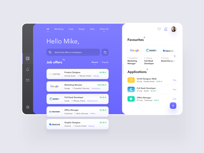 Job Offers App Concept android ios app design figma e-commerce minimal flat interface clean web design ux design ui design ux design ui desktop mobile app search job