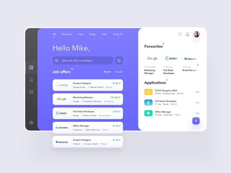 Job Offers App Concept by Veno for Overlap Studio on Dribbble