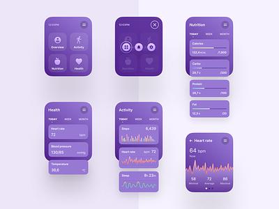 Health Monitor Watch OS App minimal wearable android chart monitor health watch ios app design figma app flat interface clean web design ux design ui design ux design ui