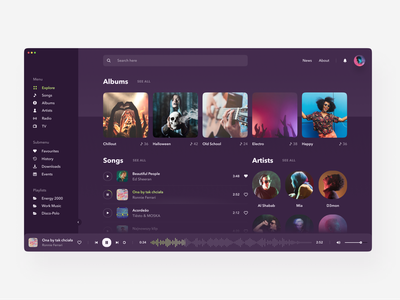 Music Player mobile designer web design dark ui e-commerce photos clean flat figma ios app design interface ux design uidesign ux ui player music