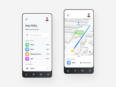 Navigation App minimal map navigation designer mobile design mobile android ios app design figma app interface web design ux design ui design ux design ui