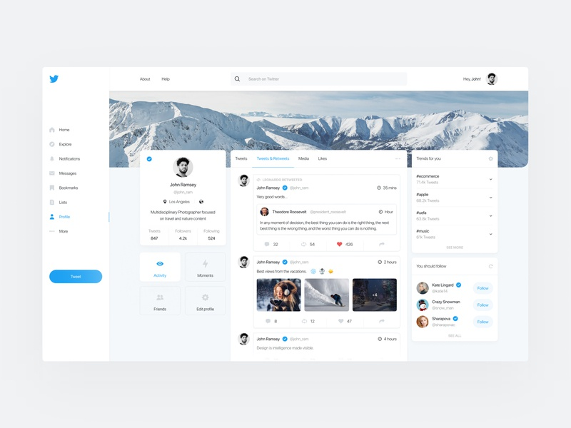 Twitter Redesign social network typography figma designer ios app web design app design photos flat design clean design redesign bootstrap twitter interface ux design ui design ux ui
