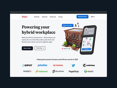 Homepage design hybrid work website brand design