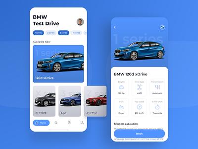 BMW Test Drive Car - Concept cards ux application mobile test drive booking car interface bmw figma concept ui app