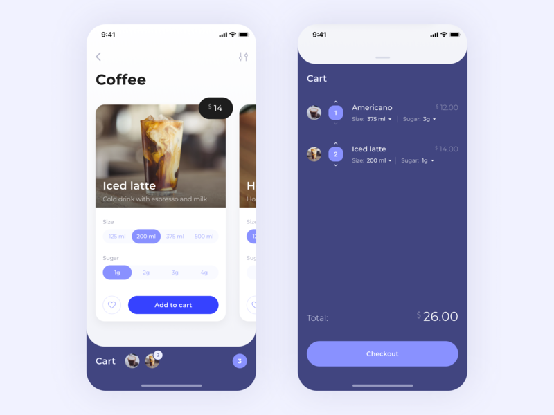 Online Food Ordering - Concept interface concept ux ui food coffee mobile cart cards figma ios app ui