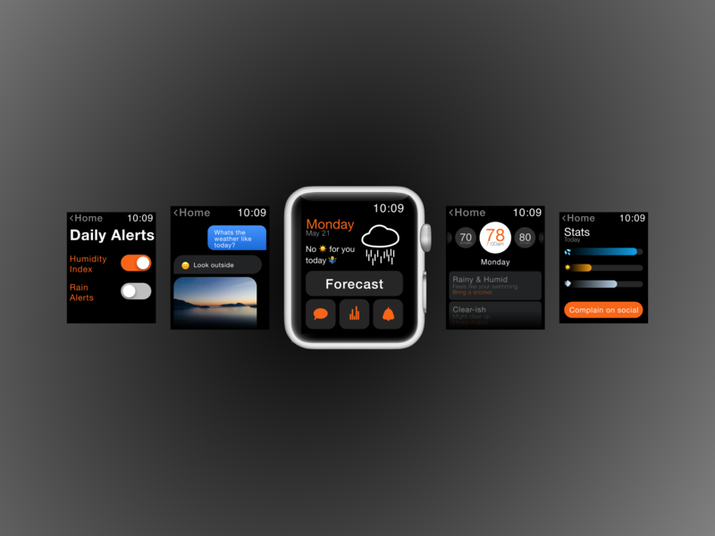 Weather butler - Apple Watch ui ux design watchos apple watch mockup apple apple watch