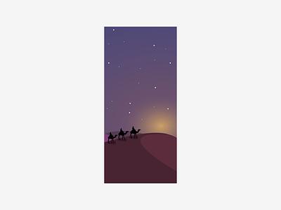 Desert Search apple ux ui design vector gradients night dessert camel iphone wallpaper wallpaper iphone x